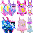 Kids Girl Unicorn Printed Ruffle Swimsuit Swimwear Swimming Costume Bathing Suit
