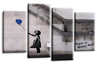 LARGE BANKSY CANVAS ART PICTURE RED GREY BALLOON GIRL WALL PRINT 4 PANELS