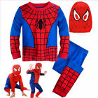 Boys Kids 3Pcs Spiderman Fancy Dress Outfits Cosplay Party Christmas Costume Set