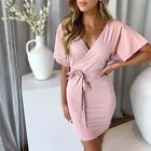 Summer Women's Sexy Dress Mini Party Bodycon Short sleeve V Neck Ball Prom Gown
