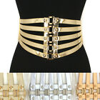 Bling Women Fashion Elastic High Waist Wide Corset Belt Waistband Rose Gold Rib