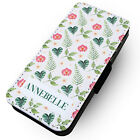 Personalised Tropical Flowers - Faux Leather Flip Phone Case #2 Holiday Summer