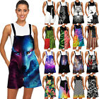 3D Skull Galaxy Wolf Print Women Bib Shorts Rompers Playsuit Jumpsuit Dungarees