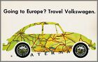 VW 1969 Volkswagen Bug Going To Europe? Vintage Poster Print German Classic Car