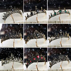 Gothic Black Crown Crystal Metal Queen Tiara Birthday Halloween Party Headwear