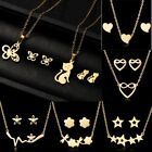 Stainless Steel Women Heart Cat Stars Gold Chain Necklace Earrings Jewellery Set
