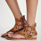 Womens Lace Up Back Zip Roma Gladiator Flat Beach Sandal Flip Flops Slipper Size