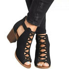 Womens Hollow Sandals Party Casual Fish Mouth Block High Heel Beach Roma Shoes