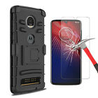 For Motorola Moto Z4 Case With Kickstand Belt Clip Cover/Glass Screen Protector