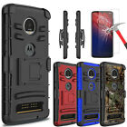 For Motorola Moto Z4 Case With Kickstand Belt Clip Cover+Glass Screen Protector