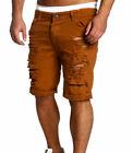 Summer Men Ripped Skinny Casual Flat Front Lounge Imitation Jeans Shorts Pants