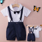3pcs Newborn Baby Outfit Clothes Sets Gentleman Bow Tie Baby Boy Outwear Blue