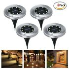 4PCS 8 LED Solar Power Buried Light Disk Lights Under Ground White Lamp Outdoor