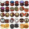 PAIR Natural Wood Ear Gauges Flesh Tunnels Double Flared Saddle Ear Plugs 8-30mm