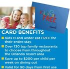 KIDS EAT FREE ORLANDO Dining Discount Card Or ECard ~LOW PRICE~ Official Seller! For Sale
