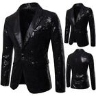 Mens Casual Slim Fit One Button Suit Clubwear Blazer Sequin Jackets Costume Chic
