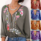 Women T-Shirt Embroidered Flowers Tee Deep V-Neck Long Sleeve Shirts Top Blouse