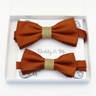 Cinnamon burlap Bow tie set daddy son, Daddy and me gift, Grandpa and me