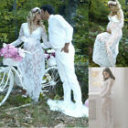 Women Ladies Pregnant Long Sleeve Lace Long Dress Maternity Photography Clothes