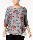 Style & Co Womens Plus Pick Size Batik Bouquets Floral Top New With Tags *d