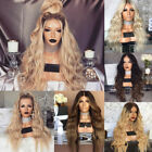 Women Cool Blonde Long Full Wavy Wig Curly Natural Hair Gradient Wigs Cosplay *