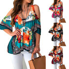 Womens Floral Cold Shoulder Tunic Tops Short Sleeve Blouse Casual Boho T Shirt