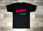 New DARE T-Shirt Vintage 90's Tees Pink Green Colorway Black Dare Shirts Sm Med image