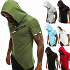 Mens Slim Fit Short Sleeve Shirts Hooded Muscle Tops Hoodie Casual Basic T-shirt image