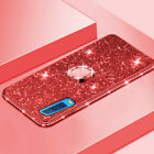 For Samsung Galaxy A7 2018 A6 A8Plus Glitter Bling Rubber Case Ring Holder Cover