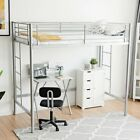 1Pc Metal Loft Bed Twin Size Top Bunk Child Teen Space Bedroom Furniture Guest