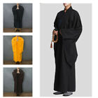 Unisex Buddhist Monk Dress Robes Shaolin Gown Frock Long Meditation Summer Solid