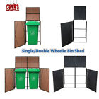 Single Double Wheelie Bin Storage Shed Outdoor Poly Rattan Decor Waste Container