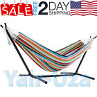 Out door Camping Double Hammock with Space Saving Steel Stand Tropical