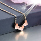 FA- BU_ Fashion Simple Three Love Hearts Necklace Women Cocktail Pendant Jewelry