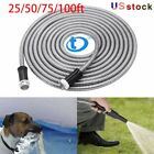 Kyпить Stainless Steel Metal Garden Hose Water Pipe 25/50/75/100FT Flexible Lightweight на еВаy.соm