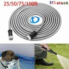 Stainless Steel Garden Hose Water Pipe 25/50/75/100ft Flexible Lightweight
