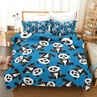 3D Cartoon Blue Panda Quilt Cover Set Bedding Duvet Cover Pillow 18