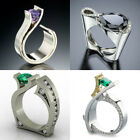 Creative Geometry Amethyst CZ Opening Ring 925Silver Women Wedding Party Jewelry image