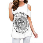 Women Cold Shoulder T-Shirt Tunic Tops Ladies Loose Blouse Summer Casual Holiday