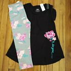 NWT Justice Girls Outfit Floral Top/Capri Leggings Size 8 10 12