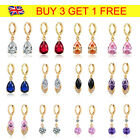 18k Gold Filled Charm Crystal Women Drop Dangle Earrings Wedding Party Jewellery