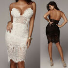 Stretchy Low Cut Extra Long Fitted Lace Cami Slip Under Midi Bandage Dress