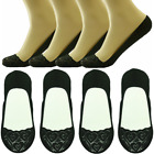 Womens 3-12 Pairs No Show Lace Nonslip Invisible Liner Loafer Boat Low Cut Socks