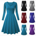 Women V-neck Long Sleeve High Waist Solid Slim Fit Pleated A-Line Evening Dress