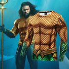 3D Printed DC Superhero Aquaman Costume Cosplay Compression Quick-Drying T-shirt image
