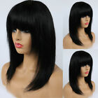 100% Real Brazilian Human Hair Wig Bob Straight Full Wigs With Bangs Black Women