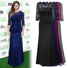 Women 3/4 Sleeve Satin Lace Gown Long Evening Galas Prom Formal cocktail dress