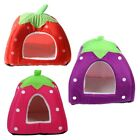 Soft Strawberry Pet Igloo Dog Cat Bed House Kennel Doggy Cushion Basket Red Q4G3
