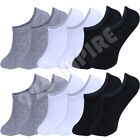 Men No Show Socks Black/White/Grey Mixed Liner Invisible Low Cut Size:9-11/10-12
