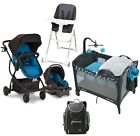 Baby Reversible Stroller with Car Seat Playard High Chair Diaper Bag Combo Set